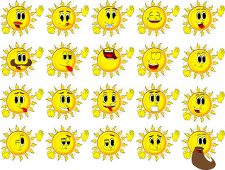 Cartoon sun with waving hands. Collection with happy faces. Expressions vector set.