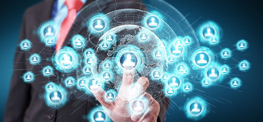 Businessman using social network interface 3D rendering
