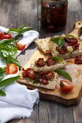 Homemade ciabatta with Sun dried tomatoes and basil