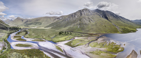 Aerial view of the paradisal landscape of Glen Etive