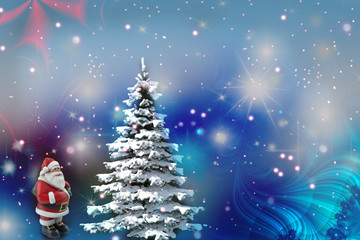 Christmas background: Christmas tree and Santa Claus