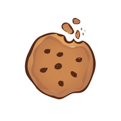 cookie illustration with bite and chocolate pieces, symbol design, isolated on white background.