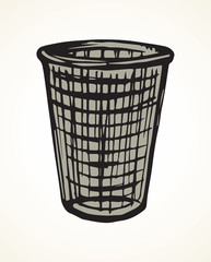 Trashcan for paper. Vector drawing