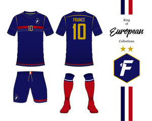 France football national team uniform. Soccer jersey or football kit template. Football logo in flat design. Front and rear view soccer t-shirt mock up. Vector Illustration.