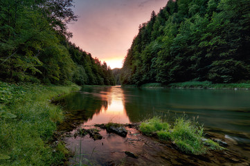 Sunset along the banks of Dunajec river.