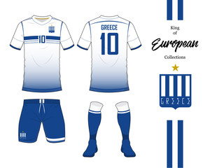 Greece football national team uniform. Soccer jersey or football kit template. Football logo in flat design. Front and rear view soccer t-shirt mock up. Vector Illustration.