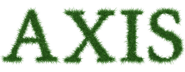 Axis - 3D rendering fresh Grass letters isolated on whhite background.