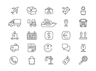 Import and export logistics, shipping and goods delivery, cargo line icons