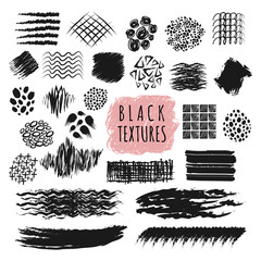 Sketch brush stroke texture design vector elements. Abstract sketch pen and pencil rough strip lines set