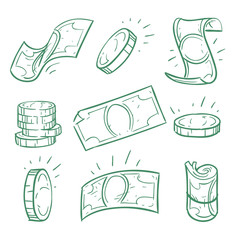 Hand drawn money. Doodle dollar banknotes and coins vector set