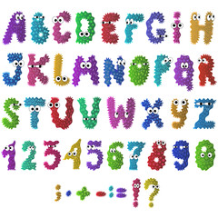 Cartoon flat monsters alphabet icons. Colorful bacteria and microbes