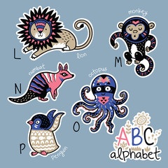 Set of cute patch badges with animals alphabet L - P