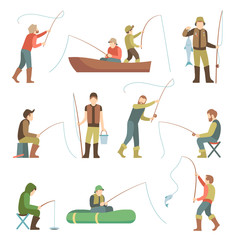 Fisherman flat icons. Fishing people with fish and equipment vector set
