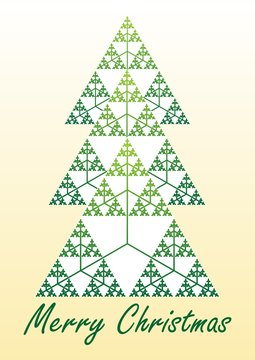 Card with christmas tree composed of fractal element Sierpinski triangle