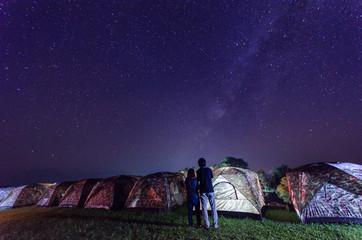 Camping under the stars and milky way at night in sri nan national park doi samer dao thailand