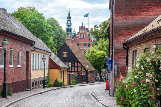 Lund, a small old town in Sweden, Scandinavian architecture, city landscape