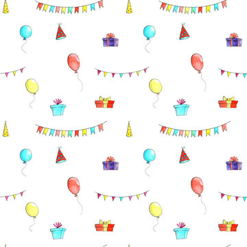 birthday party doodle seamless pattern