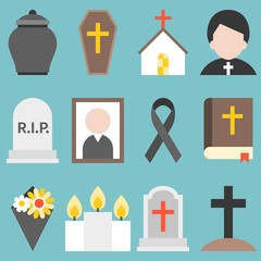 Set of funeral object icon for christian, flat design vector