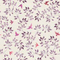 Seamless retro wallpaper with cute birds and ditsy hand painted leaves. Vintage watercolor