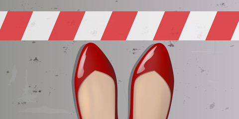 ligne - stop - limite - frontière - obstacle - femme -chaussure