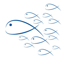 Fish swimming, vector abstract summer background, for poster or cover