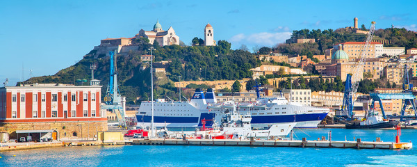 harbor port of Ancona, Italy with ships and city panorama
