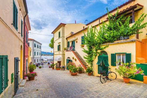 Wall mural City street in Marina di campo, Elba Island, Tuscany, Italy.