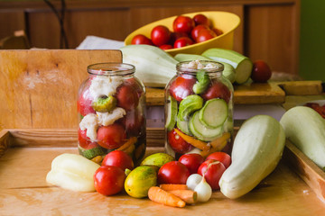 Marinated fresh vegetables canned in bottle
