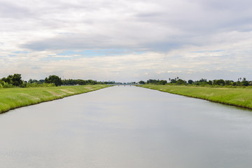 Poster Channel landscape of waterway canal in Thailand