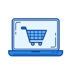 Online shopping vector line icon isolated on white background. Online shopping line icon for infographic, website or app. Blue icon designed on a grid system.