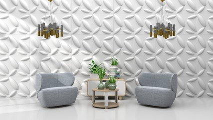 Interior Wall Design have armchair and cabinet, lamp on white background. 3D Rendering