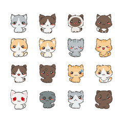 Cute cartoon cats and dogs with different emotions. Sticker collection.