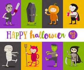 Set of Halloween cartoon characters. Vector illustration.