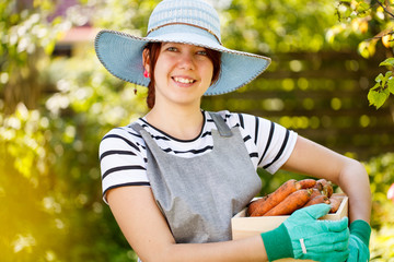 Image of brunette with carrot