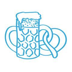 Handgezeichneter Bierkrug mit Brezel in blau
