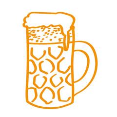 Handgezeichneter Bierkrug in orange