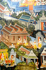 Ancient Buddhist temple mural painting of the life of Buddha inside of Wat Pho in Bangkok, Thailand