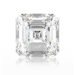 3D illustration asscher diamond stone with reflection