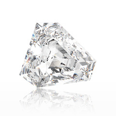 3D illustration calf diamond stone with reflection on a white