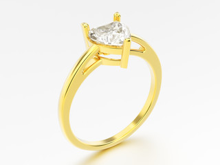 3D illustration yellow gold engagement ring with diamond heart with reflection