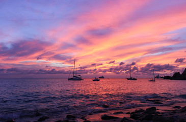 colorful sunset on st. Barts, french island, Shell beach in caribbean sea