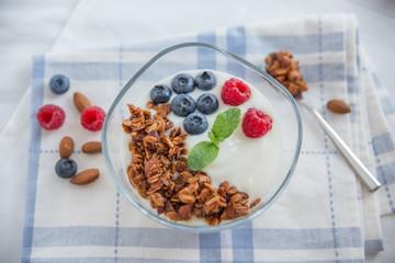 Joghurt mit Müsli und Beeren