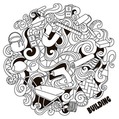 Cartoon cute doodles hand drawn Building illustration. Black and white detailed, with lots of objects background.