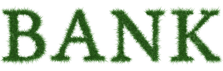 Bank - 3D rendering fresh Grass letters isolated on whhite background.