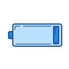 Low battery vector line icon isolated on white background. Low battery line icon for infographic, website or app. Blue icon designed on a grid system.