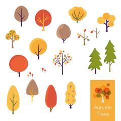 秋の木のイラストセット