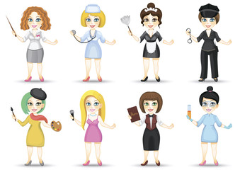 Vector set of different female characters profiles on a white background