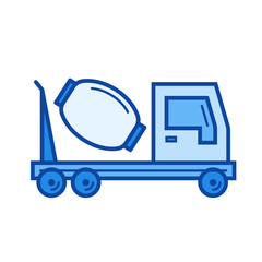 Concrete mixer vector line icon isolated on white background. Concrete mixer line icon for infographic, website or app. Blue icon designed on a grid system.