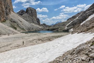 Italy, Trentino Alto Adige, Dolomiten Antermoia lake at Croda da Lago mountain.