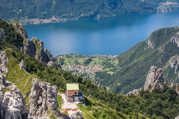 Como lake, Rosalba hutte at Grignetta mountain, Lombardy, Italy